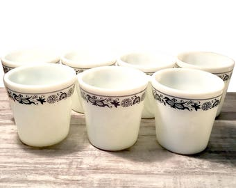 Vintage Pyrex Mugs, Set of 7, Coffee Cups, Old Town Blue and White, Milk Glass Mugs, Retro Kitchen Decor