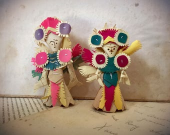 Vintage South Asian Bamboo Folk Art Ornaments Quantity of 2