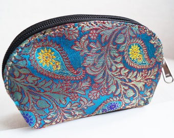 Recycled Sari Zipper Pouch, Makeup Bag , Clutch and Jewelry Roll From India