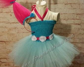 Troll Tutu dress and pink troll hair headband Set trolls costume Cartoon tutu dress nice enough for Pageant wear Dance recital Birthday.