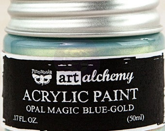 Finnabair Art Alchemy Opal Magic Prima Acrylic Paint 1.7 oz  BLUE-GOLD Opalescent #963675