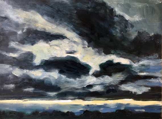 "Sorry, this item is SOLD- Original Oil Painting: Dark Cloud Sunset, 12"" x 16"""