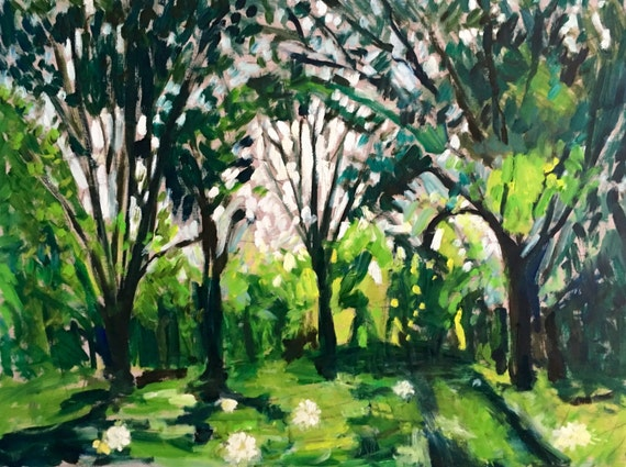 """Original Oil Painting: Summer In the Park, 32"""" w x 24"""" h"""
