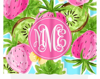 Good Lilly Pulitzer Inspired Monogram Shower Curtain | Gift For Her