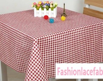 """Linen cotton fabric with red white checked tablecloth curtain fabric-(FSXIY)- by half meter 59""""wide"""