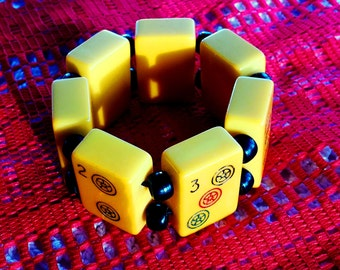 Bakelite Bracelet vintage (butterscotch mahjohng) c1930 made in seven (7) pieces of bakelite tested with (simichrome) games