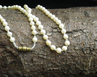 Art Deco Real Pearl Single Strand Barrel Clasp Necklace