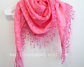 pink lace scarf, lacey scarf, girly scarf, woman scarf, fashion scarves, scarf, scarf for woman, woman scarf, women scarves, gift