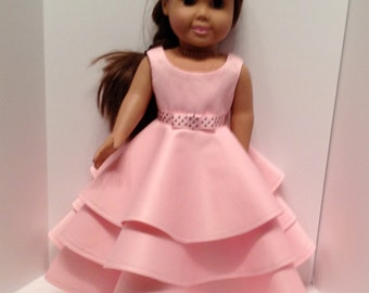 "18"" Doll Dress: pink three tiered formal dress for the American Girl and Maplelea doll"