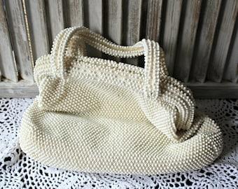 Vintage! White. Handbag. Corde Bead. Purse. Wedding. Very cute! 1950s.