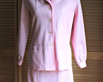 Vintage! 1960's. Pink/cotton. Jacket/skirt/button/top! Very nice set!