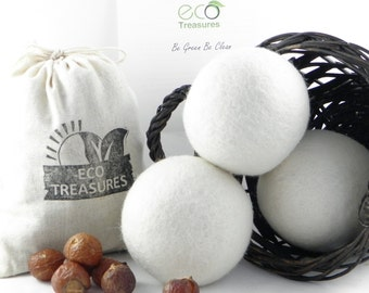 Starter Pack - 1/2 lb Organic Soap Nuts and 3 White 100% Wool Dryer Balls