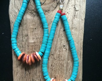 Vintage Native American Handcrafted Jacla Earrings,  SouthWest Navajo Turquoise Coral & Spiny Oyster Jacla's.
