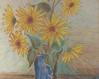 Old Vintage Painting Drawing Yellow Sunflowers Flowers Blue Vase Expressionist