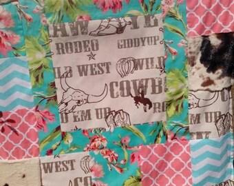 Girls Western Blanket - Quilt Blanket - Cowboy blanket - Patchwork quilt