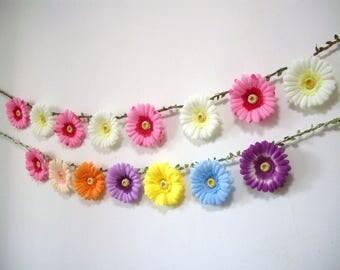 Hot Pink Wedding Garland backdrop,Pink Flower Garland Backdrop,Pink Floral Garland,Pink Flower Daisy Banner,Bunting,Bridal Baby Shower decor