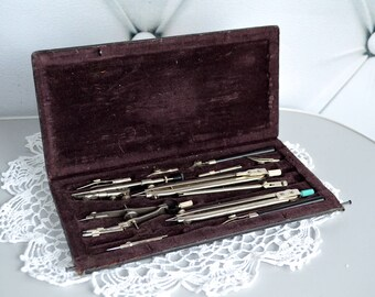 Antique Drawing Set, vintage Drafting tools, brass steampunk tool  set, Drawing Instruments, soviet