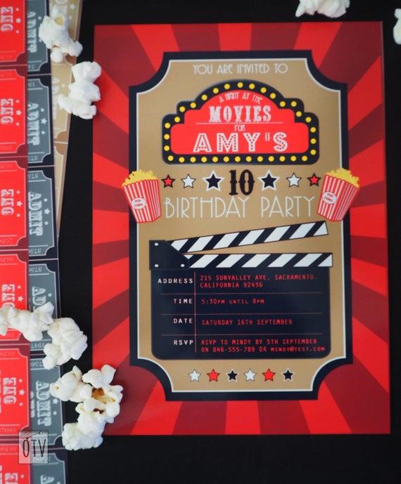 New** Movies HOLLYWOOD Invitations PRINTABLE Pdf