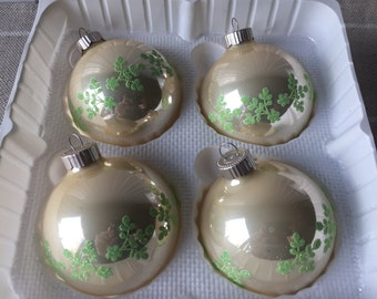Vintage Christmas Ornaments, Glass Ball Ornaments, Mercury Glass, Krebs, Pearl Ball Ornaments, White and Green Ornaments, Made in the USA