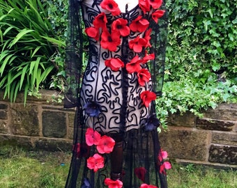 Gothic Bride, Alternative Wedding Dress, Gothic Tulle Embellished Dress, Steampunk, Vampire,