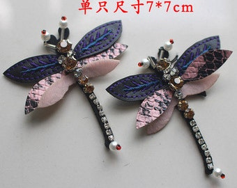 one pair Dragonfly vintage Rhinestone applique clothing decoration patch