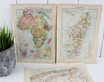 Vintage Maps Poster, Vintage Art Prints, Maps Art Print, Map Illustration, French Dictionary Print, Africa, Tunisia, Algeria, Madagascar
