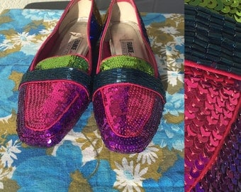 Size 8 Sequined Beaded Loafer Beverly Feldman Frankie and Baby Flats Pink Blue Green Blue Yellow 80s 90s Blingy Jazz