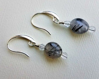 tourmaline quartz earrings -tourmalated quartz earrings on silver- black tourmaline quartz earrings-rutilated black quartz earrings