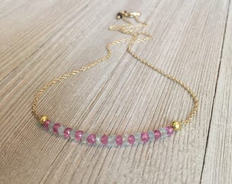"Pink topaz & blue chalcedony beaded necklace~15.5""~24kt gold filled chain"