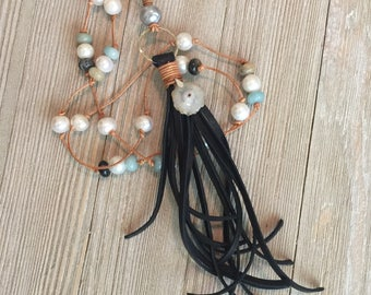 """hand knotted beaded leather necklace~deerskin tassel~petite solar agate-freshwater pearls~rondelle amazontie beads 20""""=40"""""""