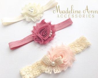 Vintage Baby Headbands, Newborn Headband Gift Set, Shabby Chic Baby Headbands, Vintage Pink Headband, Lace Pearl Headband, Rustic Photo Prop