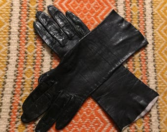 Black Leather Gloves Vintage Made in Italy Women's XS or Small size 6
