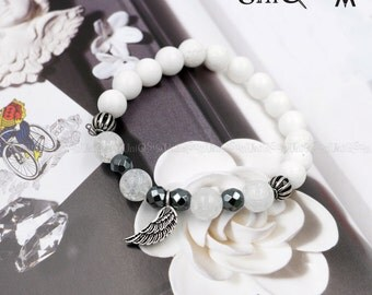925 sterling Silver feather Bracelet, Hematite Quartz Corallite  beaded Bracelets