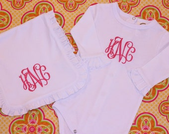 Monogrammed Long Sleeved Onesie and Burp Rag Gift Set