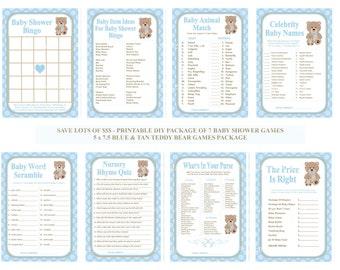 Blue Teddy Bear Baby Shower Game, Printable Teddy Bear Baby Game, Blue Bear Game, Teddy Bear Shower Game, Bear Game - Printables 4 Less