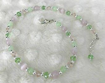 Pink and green swarovski crystal beaded anklet, Pastel beaded anklet