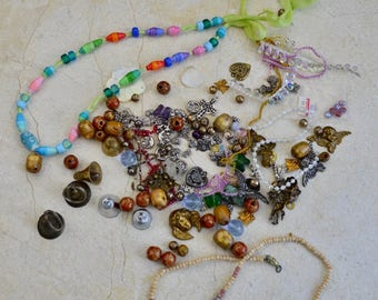 Destash Lot of Beads, Crafting Supplies, Jewelry Making, Bells, For Repurpose and Upcycle