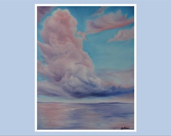 """Original 18x24"""" Oil Painting - Giant Fluffy Cotton Candy Clouds Over Ocean Wall Art"""