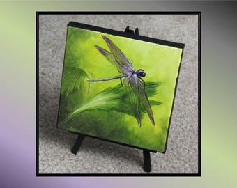 "Original 6x6"" Oil Painting - Mini Dragonfly Wall Art"