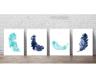 Feather Print set of 4, Navy Blue Feathers Watercolor Painting, Colorful Kids Room Decor, Minimalist Teal Poster Baby Boy Nursery Decoration