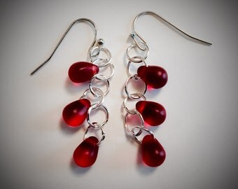 Red Frosted Glass and Silver Dangle Earrings - Valentine' Day