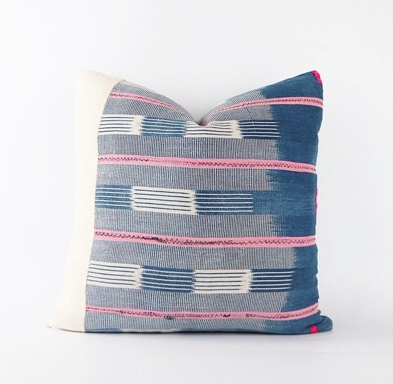 Vintage African Indigo And Pink Mudcloth Textile Pillow Cover 18x18