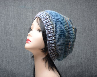 Slouchy Hand Knit Woman beanie hat blue chunky slouchy hat winter