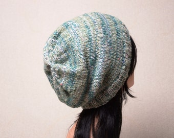 Knit Slouchy Beanie Hat, Women's Mohair Hat, Teen Girl Hat, Oversized Hat, Handmade