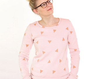 Kuschelsweat sweater Anni / / powder pink triangles