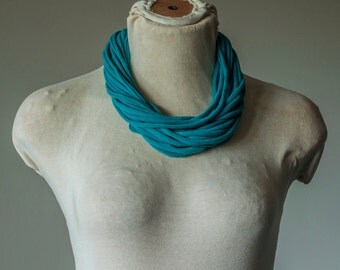 Recycled T-Shirt Necklace Teal