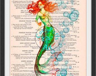 Red Haired Green Mermaid with Bubbles Dictionary Page Art Print Book Art Print Upcycled  Red Haired Mermaid Print cp165