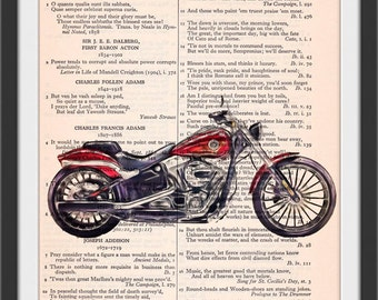 2017 Red Breakout Motorcycle Altered Art Chiaroscura Style Beautifully Upcycled Vintage Dictionary Page Book Art Print