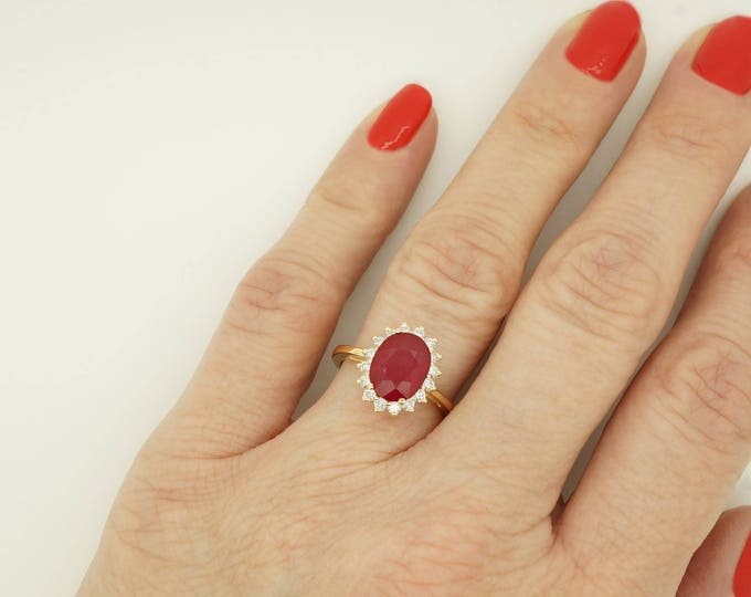 ON SALE!!! 3 carat oval Ruby diamond ring with Ruby-Engagement Ring-Ruby engagement ring-Multistone ring-Ruby ring vintage-Promise Ring