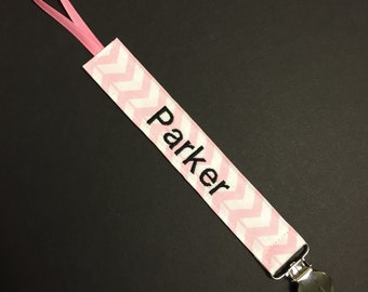 Chevron Pacifier Clip--Soothie Clasp--Binky Holder--Pink & White--Baby Girl--Optional Monogrammed, Personalized, Embroidered